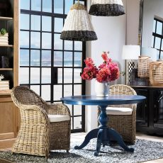 Block & Chisel round weathered oak table with blue lacquer