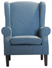 Block & Chisel blue linen upholstered wingback chair