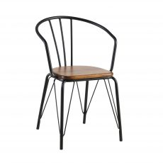 Ivory - Horseshoe back black metal industrial dining chair with wooden seat