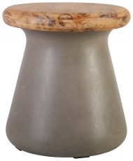 Block & Chisel hobbit stone stool with wooden seat