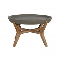 Block & Chisel round natural concrete coffee table with wooden legs
