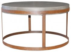 Block & Chisel round acrylic top coffee table with steel base