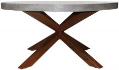Block & Chisel round natural concrete dining table with steel legs