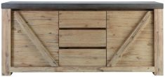 Block & Chisel rectangular acacia wood sideboard with concrete top
