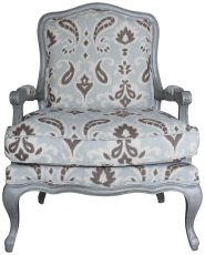 Block & Chisel brown and grey print upholstered armchair