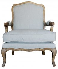 Block & Chisel blue upholstered french inspired club chair with oak frame