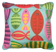 Block & Chisel multi-coloured embroidered cushion