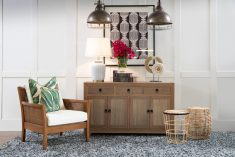 4 door 3 drawer Natural Teak sideboard