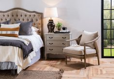 Margaret Headboard King size in linen neutral with tufted detail