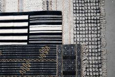 destinty rug in black with mustard squiggle