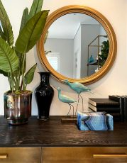 Block & Chisel round mirror with country gold bevel frame