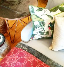 crane bird with green leaves, made in south africa, cushion, front