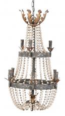 Block & Chisel iron and wood chandelier