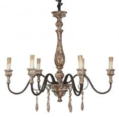 Block & Chisel iron and wood 6 bulb chandelier