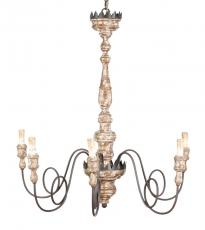 Block & Chisel iron & wood chandelier