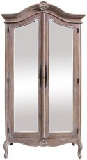 Block & Chisel 2 door mindi wood wardrobe with mirrored doors