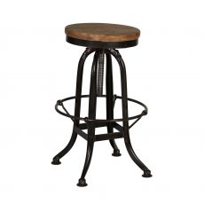 industrial barstool with wooden top and iron frame