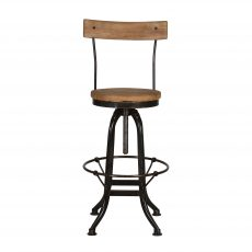 Adjustable industrial barstool with wooden back rest and seat.