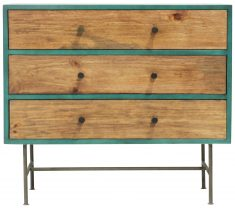 Block & Chisel rectangular mango and pine wood chest of drawers with iron legs