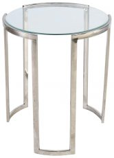 Block & Chisel round steel side table with glass top