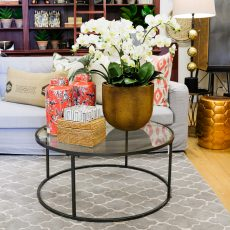 metal table with glass top from Block & Chisel in store