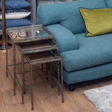 Block & Chisel square iron nesting side tables with mirrored tops
