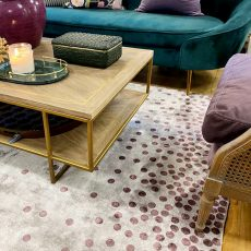 Block & Chisel dot bordeaux detailed viscose rug