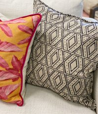 African print, tribal pattern, black and white cushion,