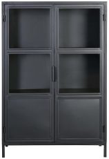 Block & Chisel black metal cabinet with glass doors and metal shelves