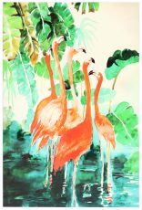 Block & Chisel flamingo print