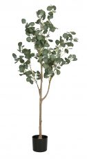 Eucalyptus Tree in round black pot, faux artificial plant