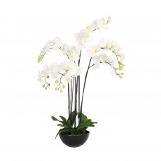 White faux artificial fake orchid in round black pot