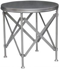 Block & Chisel round nickel side table