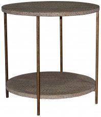Block & Chisel round wicker cane side table with iron base