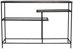 Block & Chisel rectangular bevelled mirror console table with iron base