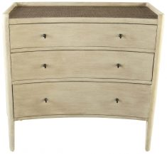 Block & Chisel wooden drawer chest with wicker rattan top