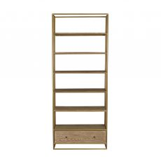 Block & Chisel bookshelf with gold metal frame and wooden shelves
