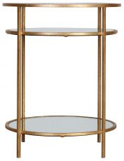 Block & Chisel round side table with clear glass shelving