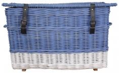 Block & Chisel blue and white rattan basket