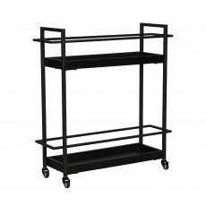 Black metal drinks trolley with caster wheels