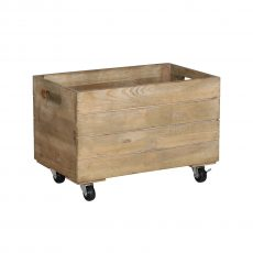 Medium wooden crate on castors