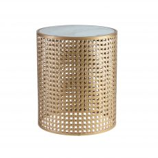 Gold mesh side table with marble top