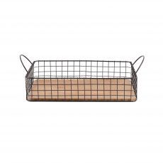 Large wire frame basket tray with wooden base