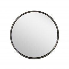 Round mirror with metal frame