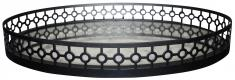 Block & Chisel oval mirrored tray with antique trim