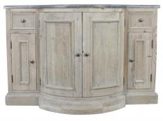 Block & Chisel wooden single basin bathroom vanity with a blue stone top