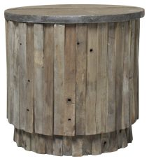 Block & Chisel recycled elm round side table with blue stone top