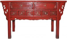 Block & Chisel red rustic Chinese inspired sideboard