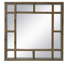 Block & Chisel square panelled mirror with wooden frame