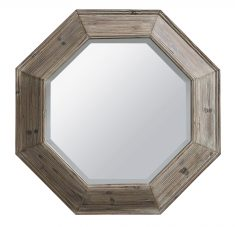Block & Chisel hex shaped mirror with wooden frame
